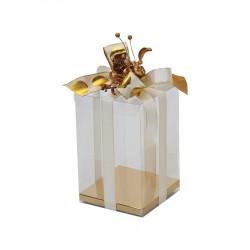 Διάφανο κουτί με χρυσή βάση 15x15x20εκ.
